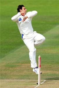Saeed Ajmal in his delivery stride