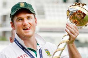 Graeme Smith with the Test mace