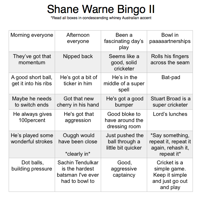 Shane Warne Bingo II
